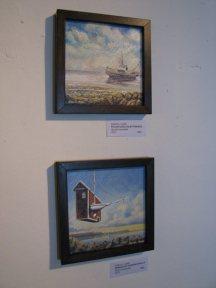 "Zamuel Hube ""Rescue boat for sale"" Oil on canvas 2013, 20 x 20 cm. ""Sensation in sailing club"" Oil on canvas 2013, 20 x 20 cm"