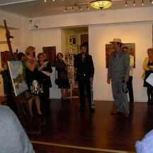 Gallery Angelo was a perfect place for this colourfull exhibition. Sirpa Koskinen and the artists in opening ceremony.