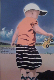 "Zamuel Hube ""The giant on the beach"", Oil and acryl on canvas 2009, 90 x 60 cm. I painted these two boy figures to exhibition in Portugal in purpose to show something Finnish in bright colours and special summer athmosphere due the fact that we have lovely summers here."