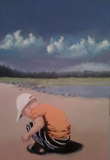 """Zamuel Hube """"Little boy on the beach"""", Oil and acryl on canvas 2009, 90 x 60 cm."""