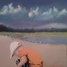 "Zamuel Hube ""Little boy on the beach"", Oil and acryl on canvas 2009, 90 x 60 cm."