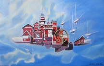 "Zamuel Hube ""An Independent village in archipelago"", Oil on canvas, 40 x 60 cm"