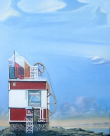 "Zamuel Hube ""Peacefull moment in the lighthouse"", Oil on canvas 2012, 55 x 46 cm"