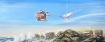 """Zamuel Hube """"the branch office"""", Oil on canvas 2012, 20 x 50 cm"""