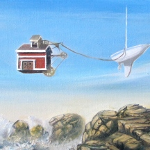 "Zamuel Hube ""the branch office"", Oil on canvas 2012, 20 x 50 cm"