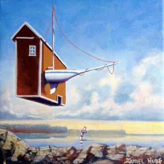 "Zamuel Hube ""Sensation in sailing club"", Oil in canvas 2013, 20 x 20 cm"