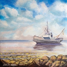 "Zamuel Hube ""Rescue boat for sale"", Oil on canvas 2013, 20 x 20 cm"