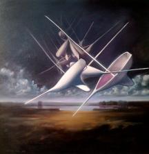 """Zamuel Hube """"A dream of sail boat"""", Oil on canvas 2011, 74 x 74 cm"""