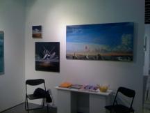 Hube's paintings in Oljemark's stand in ArtHelsinki 11