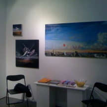 Hube's paintings in Oljemark's stand in ArtHelsinki 11