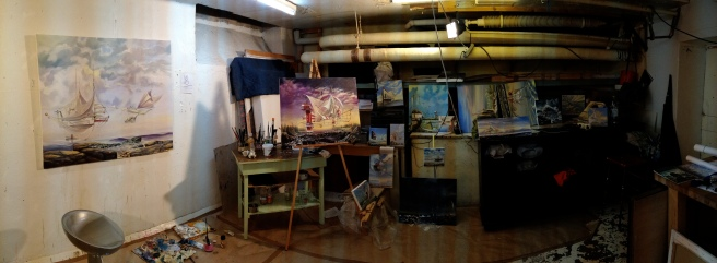 This little basement in Korkeavuorenkatu is the birthplace of most of the Wind Factory paintings