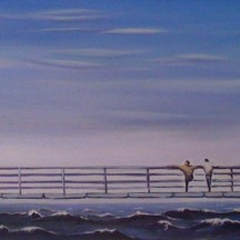 "Zamuel Hube ""Two men on the pier"", Oil on canvas 2010, 25 x 65 cm"