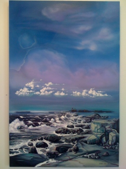 "Zamuel Hube ""Rocks on the coast"", Oil on canvas 2010, 150 x 100 cm"
