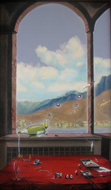 "Zamuel Hube ""Sushi dinner in Switzerland"", Oil on canvas 2009, 100 x 60 cm"