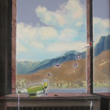 "Zamuel Hube ""Sushi dinner in Switzerland"", Oil on canvas 2009, 100 x 60 cm"