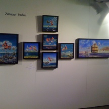 Hube's paintings in Oljemark's stand in ArtHelsinki 10