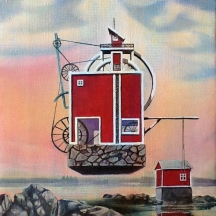 """Zamuel Hube """"Window maker"""", Oil on canvas 2012, 30 x 30 cm"""