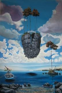 """Zamuel Hube """"My home is my castle"""", Oil on canvas 2010, 150 x 100 cm"""
