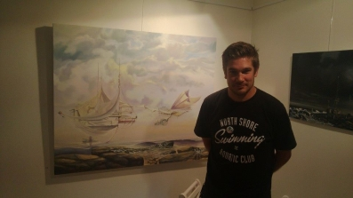 "Zamuel Hube with his oil painting called ""The Wind Factory"" 2013"