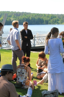 Artists are relaxing after hard work for fine exhibition in Salmela in 2011.