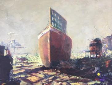 Vanhan seilorin muistolle /In memoriam old sailor Acryl on canvas 2019 Size: 38 cm x 46 cm.