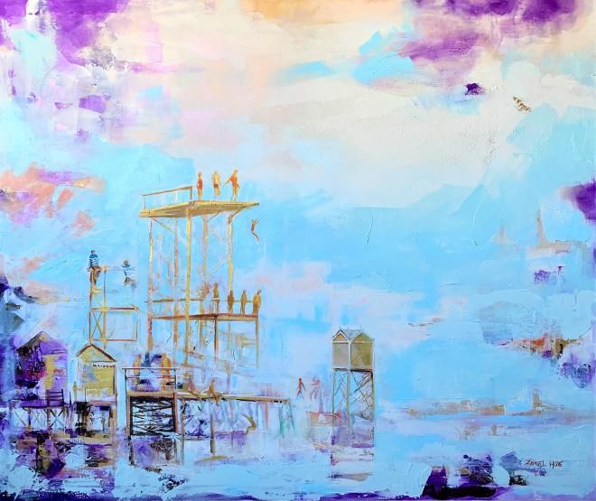 Zamuel Huben maalaus Uimamaisterit Tuulitehtaalla on akryylivärimaalaus